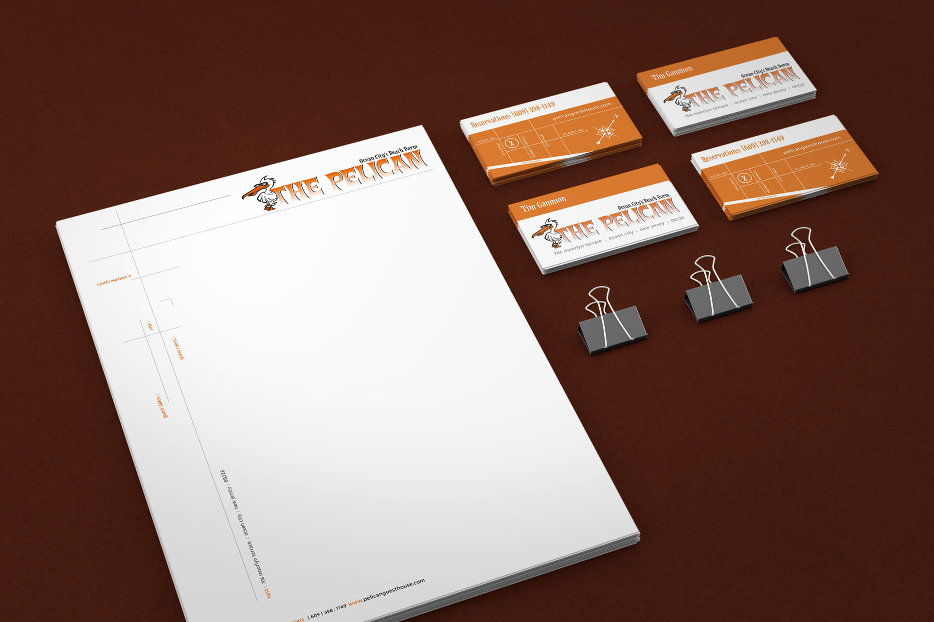 The Pelican Guest House Stationery Design
