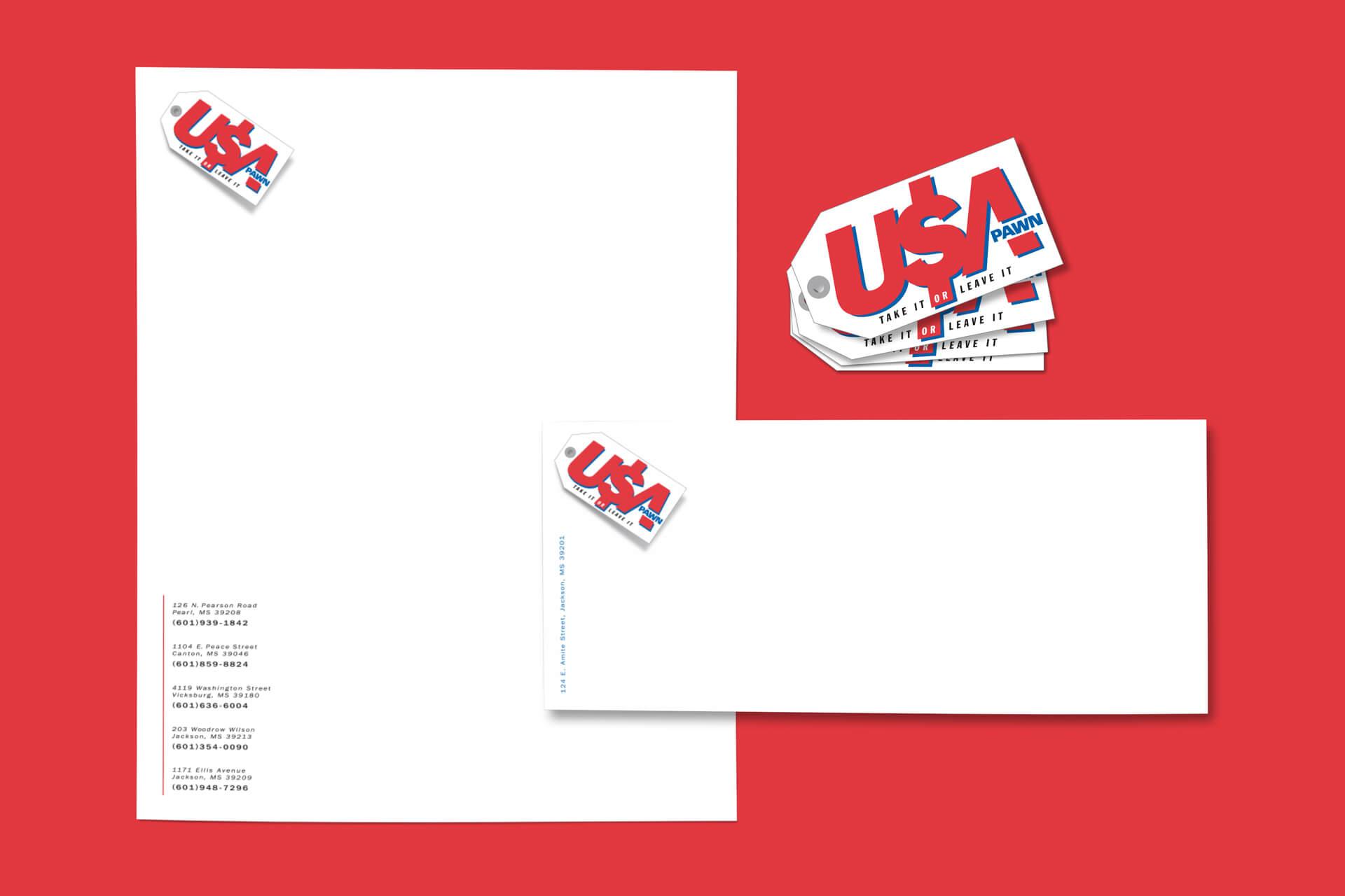 USA Pawn Branding Stationery Letterhead Design