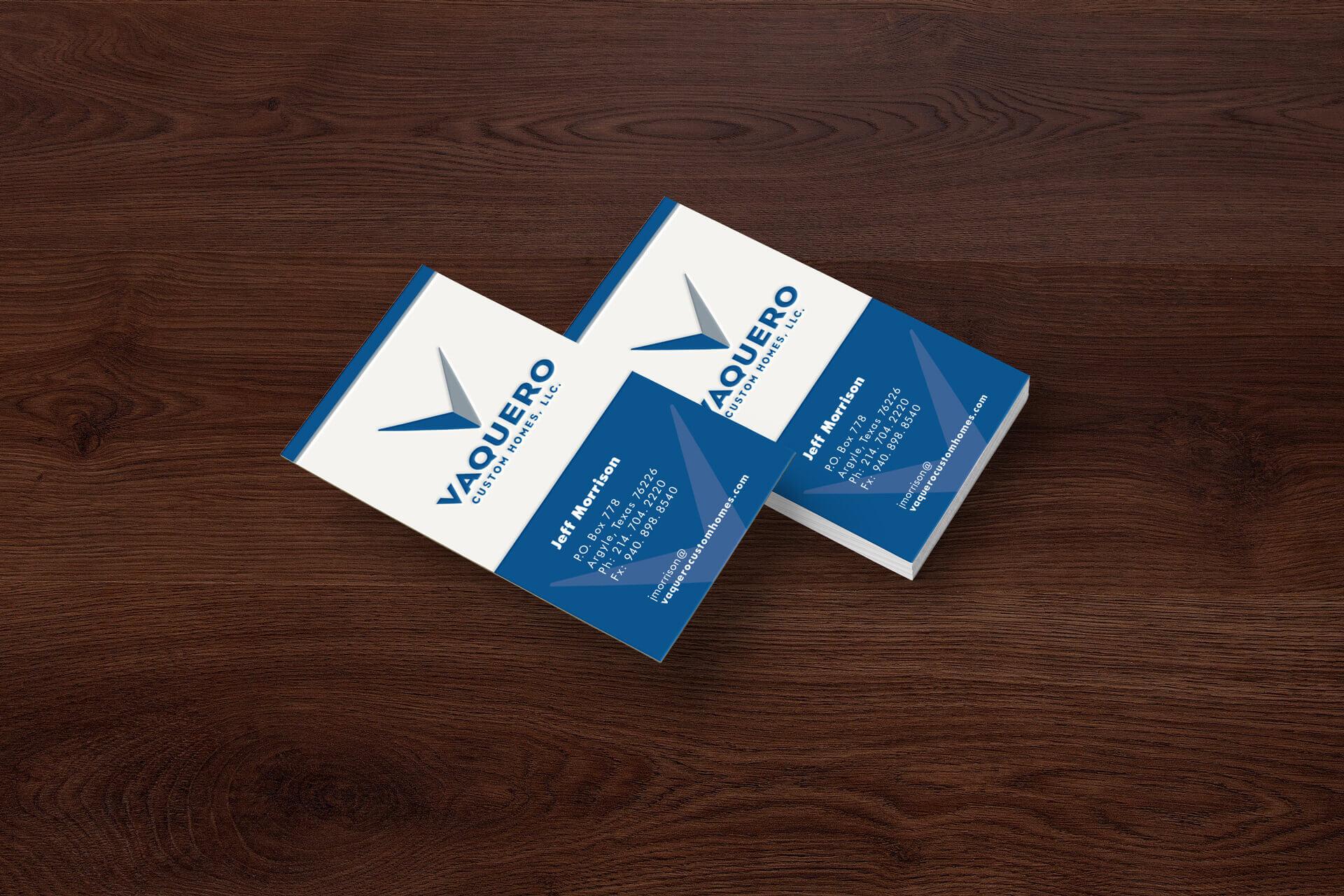 Vaquero Custom Homes Business Card Design