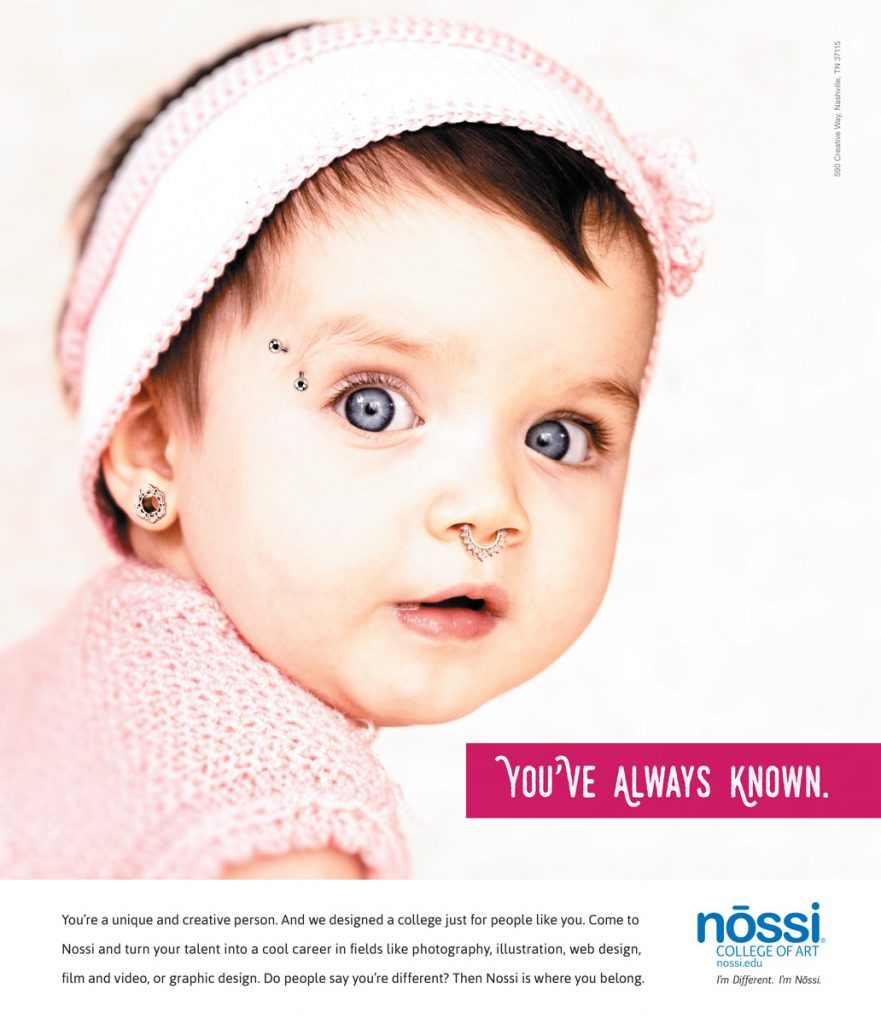 Nossi College of Art Print Ad Campaign - Baby wearing earrings