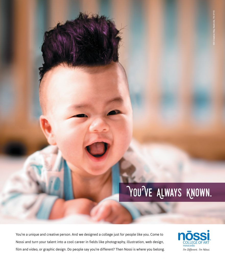 Nossi College of Art Print Ad Campaign - Baby with mohawk