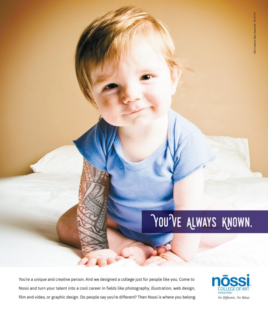 Nossi College of Art Print Ad Campaign - Baby with arm sleeve tattoo