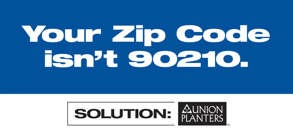 Outdoor Billboard - Union Planters Bank - Zip Code isn't 90210