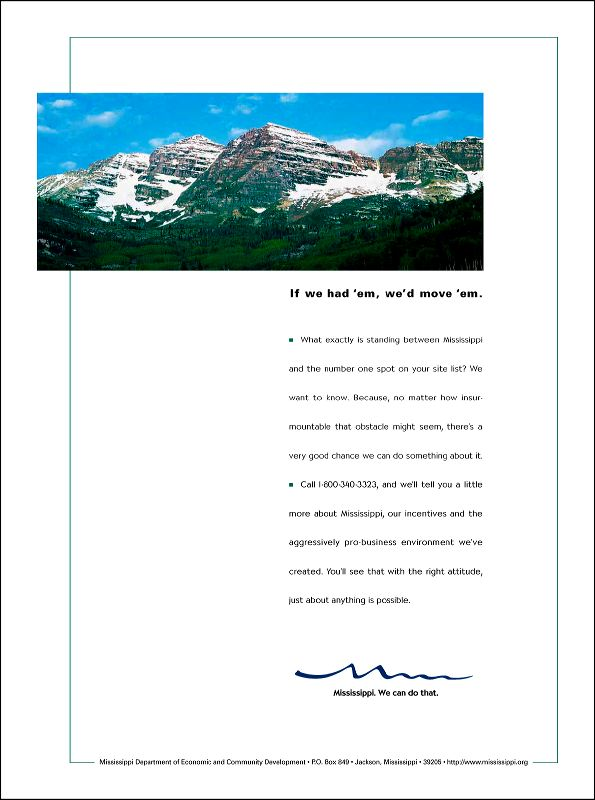 MS Department of Econ. Development Print Ad Campaign - Mountains