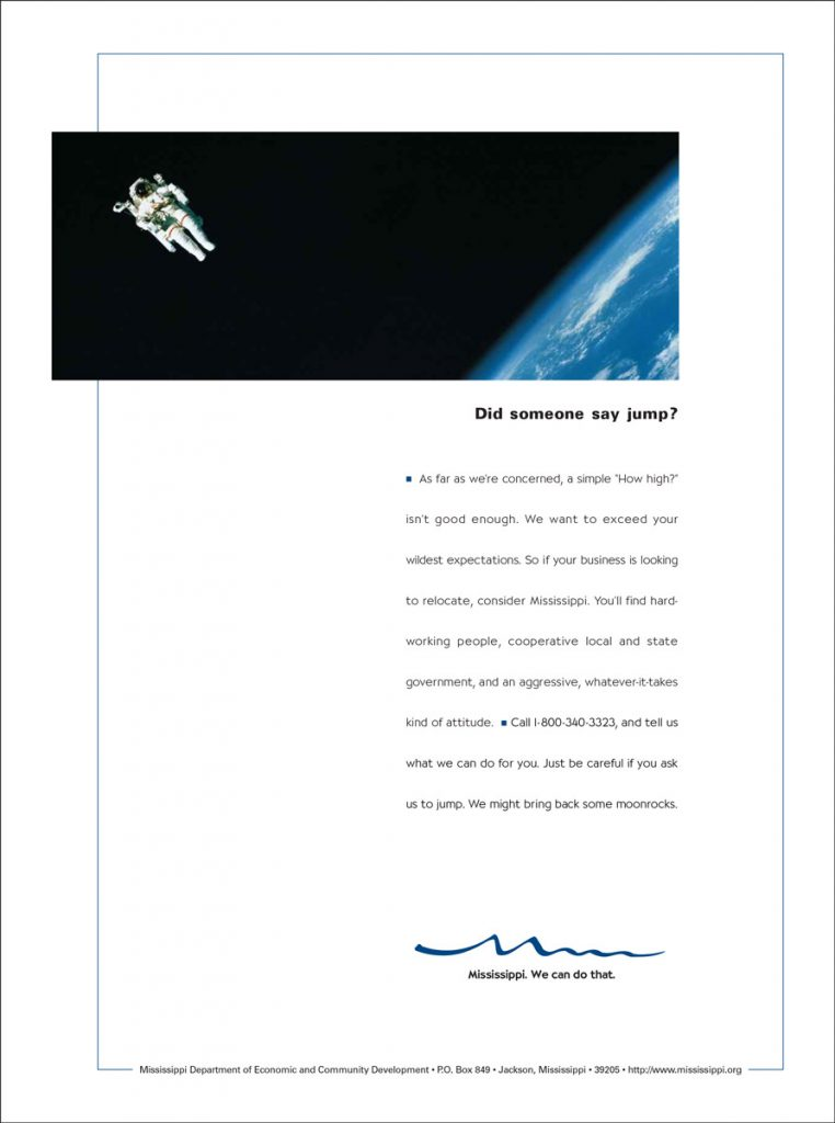 MS Department of Economic Development Print Campaign - Astronaut
