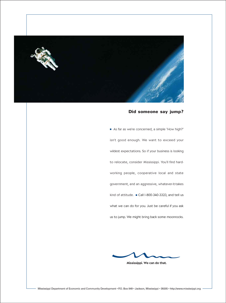 MS Department of Economic Development Print Ad - Astronaut