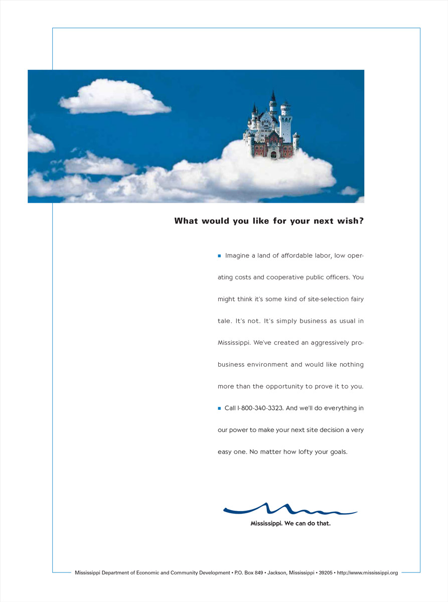 MS Department of Economic Development Print Ad - Castle