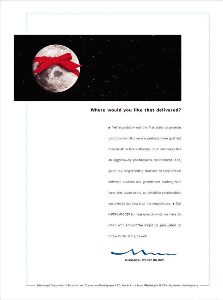MS Department of Economic Development Print Campaign - Moon with Bow