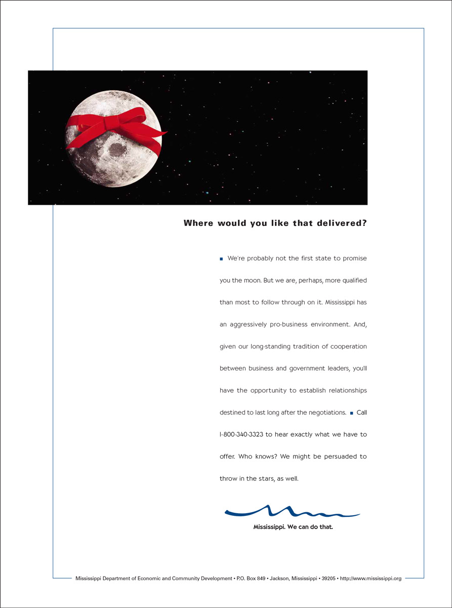 MS Department of Economic Development Print Ad - Moon with Bow