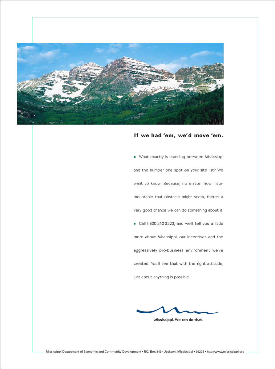 MS Department of Economic Development Print Ad - Mountains