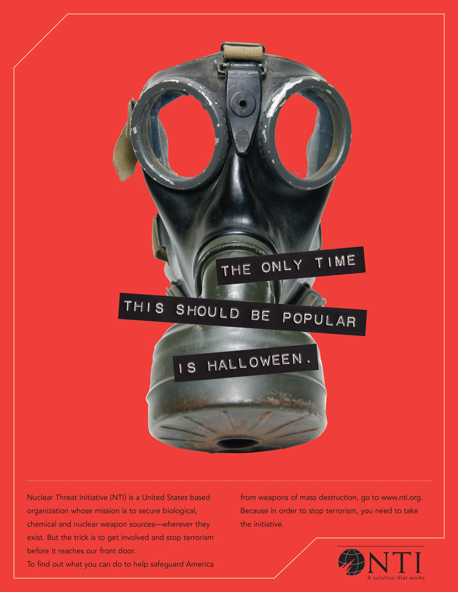 Print Ad Nuclear Threat Initiative - Gas Mask