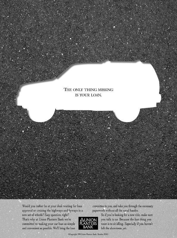 Union Planters Bank Auto Loans Print Ad