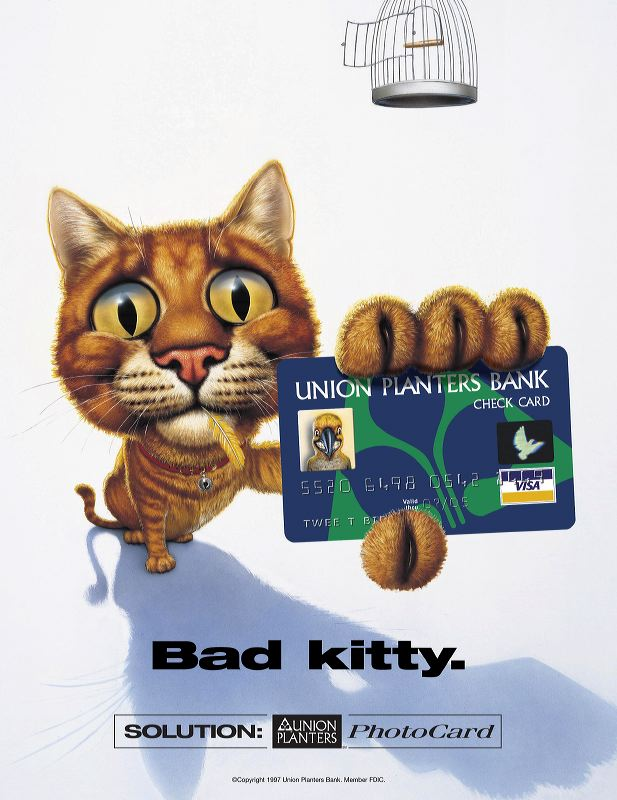Union Planters Bank Photo Card Print Ad - Bad Kitty