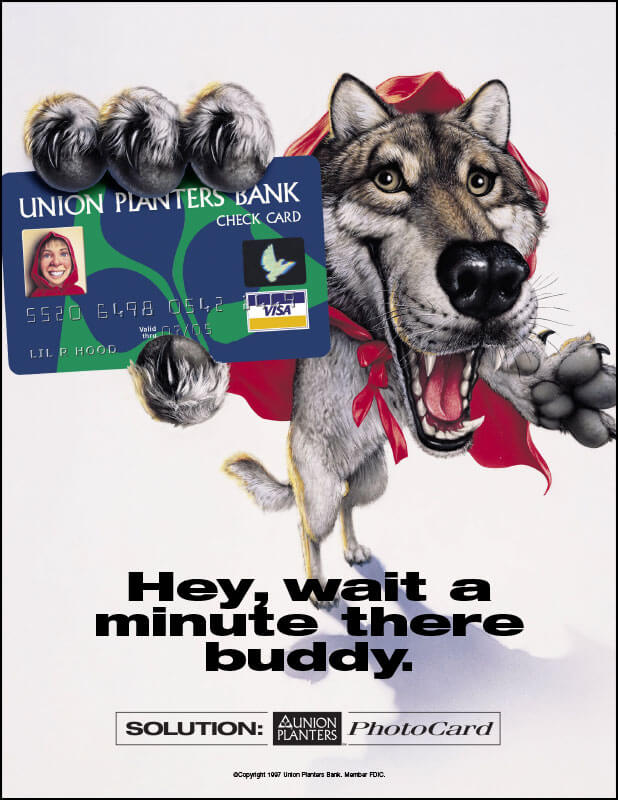 Union Planters Bank Photo Card Print Ad - Wolf