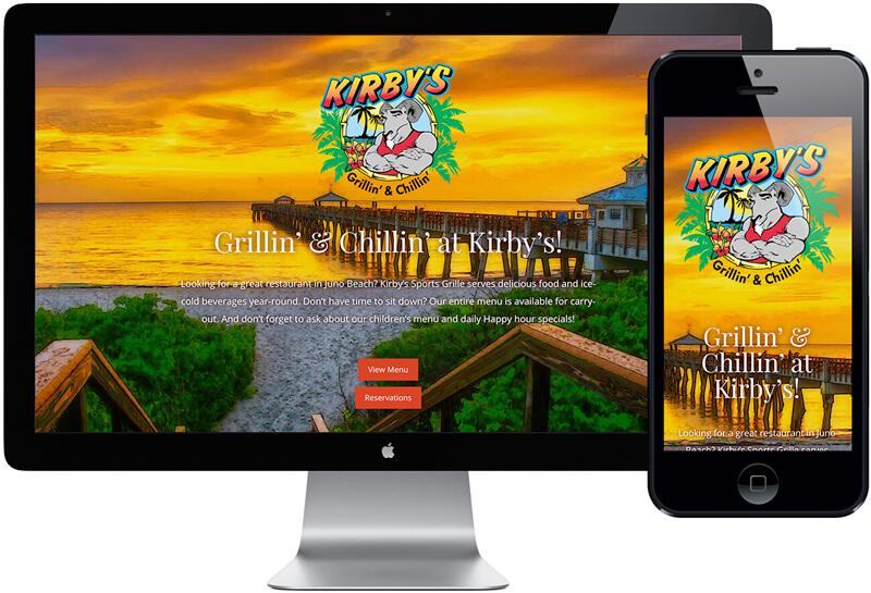 Kirbys Restaurant Juno Beach Website Design