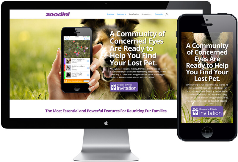 Zoodini Lost Pet App Website Design